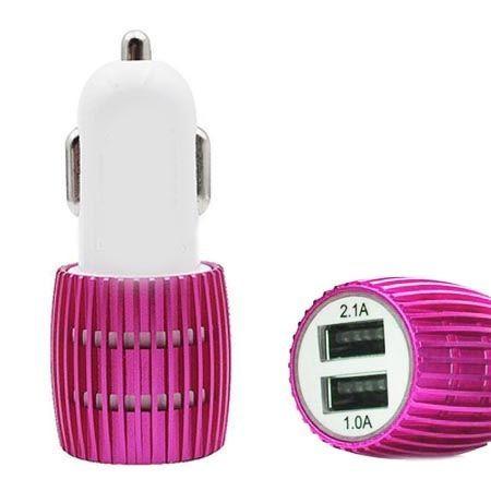 Aluminiowa ładowarka samochodowa 2x USB - różowa.