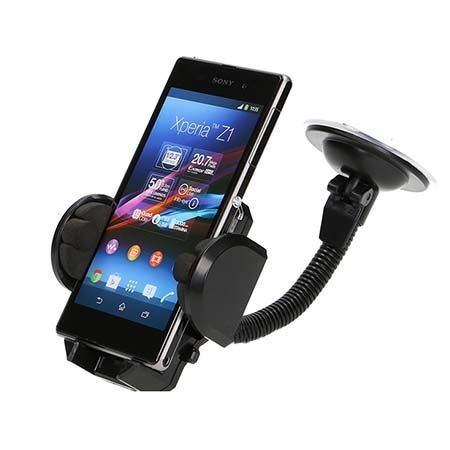 Spiralo - Uniwersalny uchwyt samochodowy na Huawei P9 czarny.