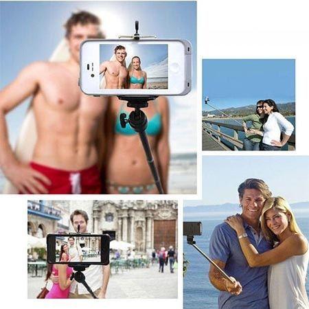 Monopod Grove, kijek do Selfie wysięgnik z kabelkiem do iPhone 7 czarny.