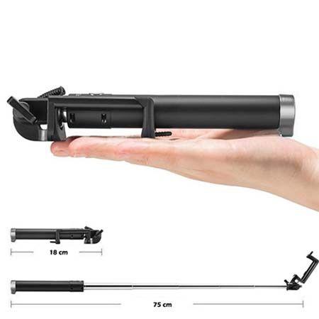 Monopod Grove, kijek do Selfie wysięgnik z kabelkiem do Huawei P9 Lite - czarny.