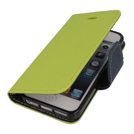 Etui na iPhone 5 / 5s Fancy Wallet - limonkowy.