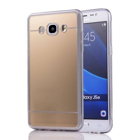 Galaxy J5 2016r mirror - lustro silikonowe etui lustrzane TPU - złote.