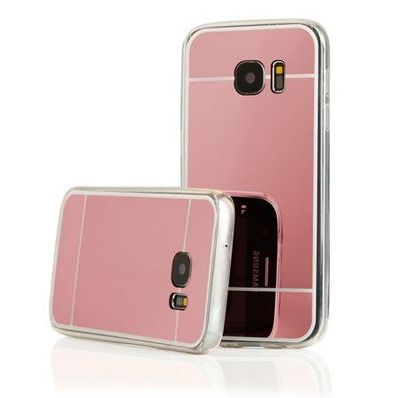 Galaxy S7 mirror - lustro silikonowe etui lustrzane TPU - rose gold.