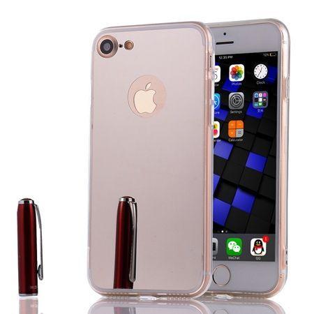 iPhone 7 mirror - lustro silikonowe etui lustrzane TPU - srebrny.