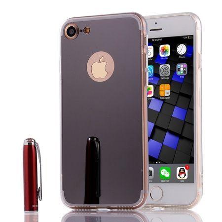 iPhone 7 mirror - lustro silikonowe etui lustrzane TPU - czarny.