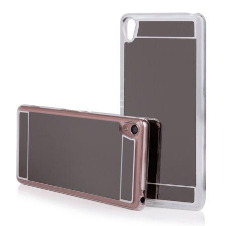 Xperia XA mirror - lustro silikonowe etui lustrzane TPU - czarny.
