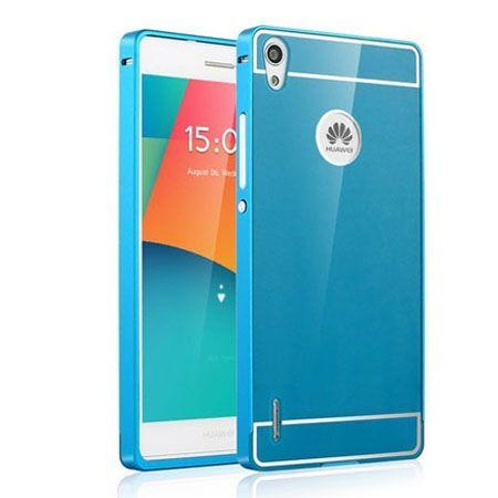 Huawei P7 etui aluminium bumper case niebieski.