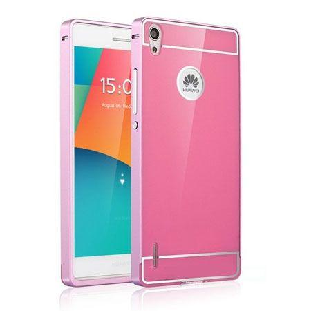 Huawei P7 etui aluminium bumper case różowy.