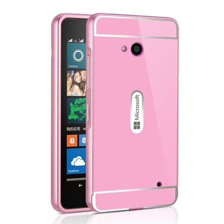 Nokia Lumia 640 etui aluminium bumper case - Różowy