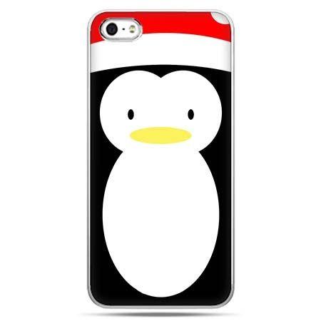 Świąteczne eui na telefon pingwin w czapce.