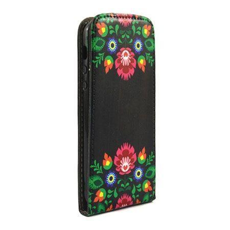 Etui na telefon iPhone 5 / 5s - kabura z klapką - wzory Łowickie
