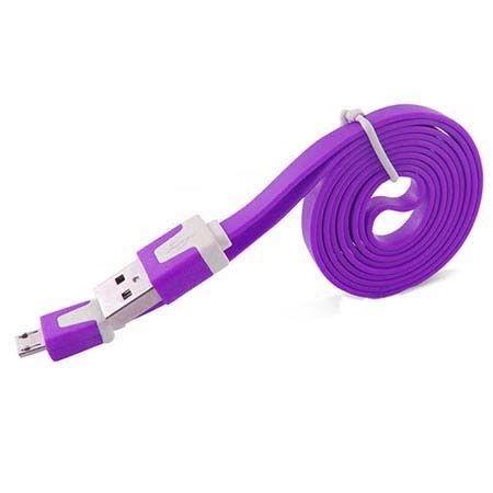 Płaski kabel do ładowania micro USB 1m - fioletowy.