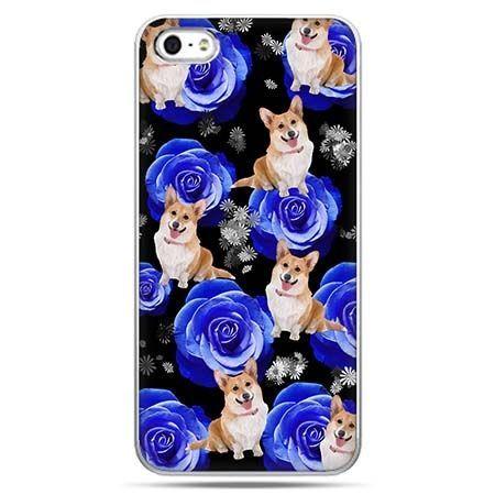 Eui na telefon piesek Corgi i niebieskie róże.