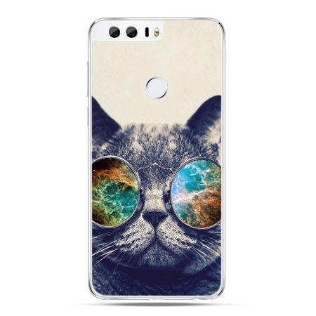 Etui na Huawei Honor 8 - kot w tęczowych okularach