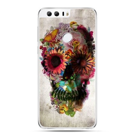 Etui na Huawei Honor 8 - czaszka z kwiatami