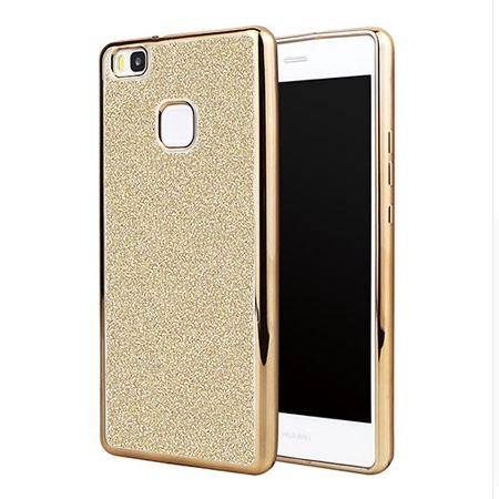 Huawei P9 Lite etui brokat silikonowe platynowane SLIM tpu - złoty