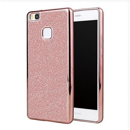 Huawei P9 Lite etui brokat silikonowe platynowane SLIM tpu - różowy