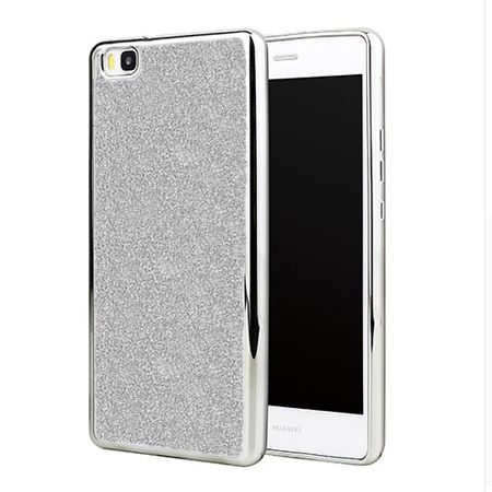 Huawei P8 Lite etui brokat silikonowe platynowane SLIM tpu - srebrny