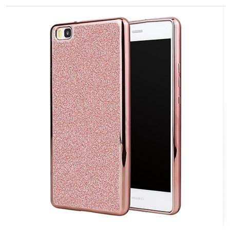 Huawei P8 Lite etui brokat silikonowe platynowane SLIM tpu - różowy