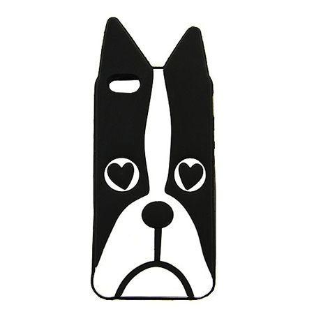 Etui na telefon iPhone 6 / 6s - gumowe 3D - czarny pies