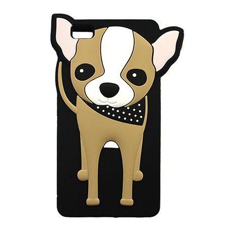 Etui na telefon Huawei P8 Lite - gumowe 3D - piesek  szczeniak, czarne