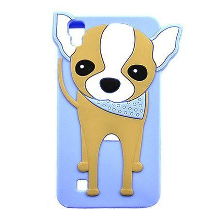 Etui na telefon LG X Power - gumowe 3D - piesek szczeniak, niebieskie