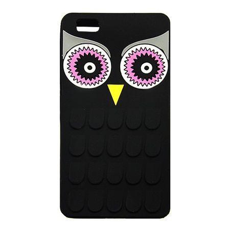 Etui na telefon Huawei P8 Lite - gumowe 3D - sowa czarna