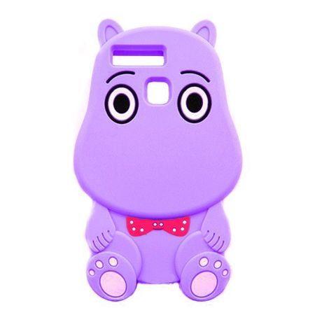 Etui na telefon Huawei P9 - gumowe 3D - Hipcio fioletowy
