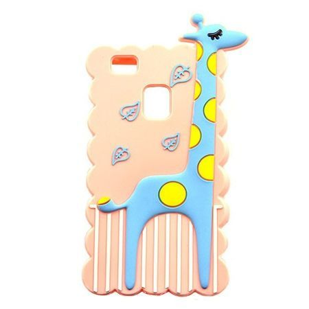 Etui na telefon Huawei P9 Lite - gumowe 3D - żyrafa, różowe