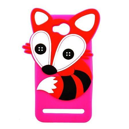 Etui na telefon Huawei Y3 II - gumowe 3D - lisek, różowe