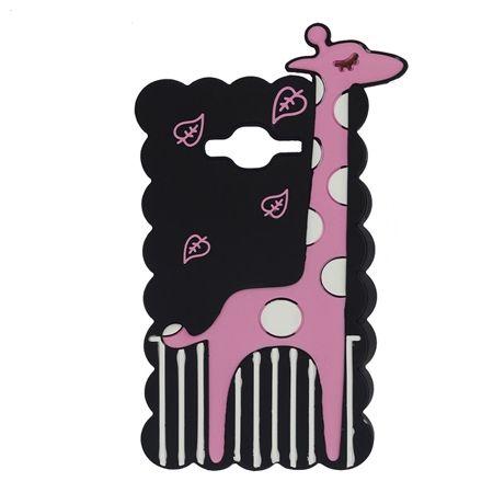 Etui na telefon Galaxy J5 - gumowe 3D - żyrafa, czarne