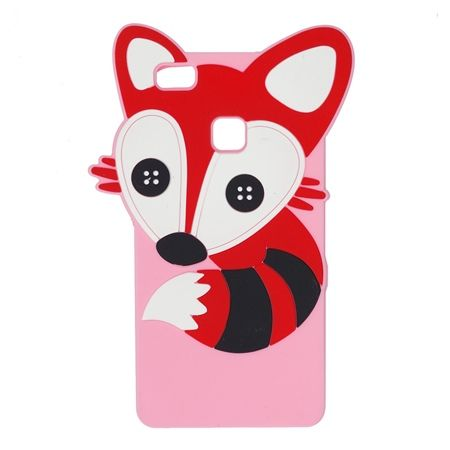 Etui na telefon Huawei P9 Lite - gumowe 3D - lisek, różowe