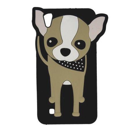 Etui na telefon LG X Power - gumowe 3D - piesek  szczeniak, czarne