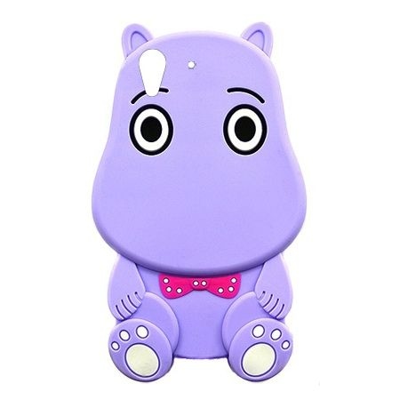 Etui na telefon Huawei Y6 II - gumowe 3D - Hipcio fioletowy