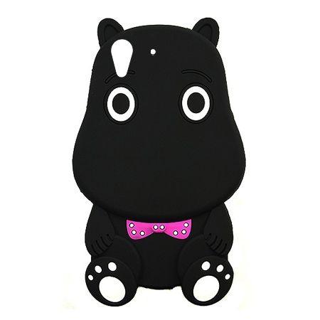 Etui na telefon Huawei Y6 II - gumowe 3D - Hipcio czarny