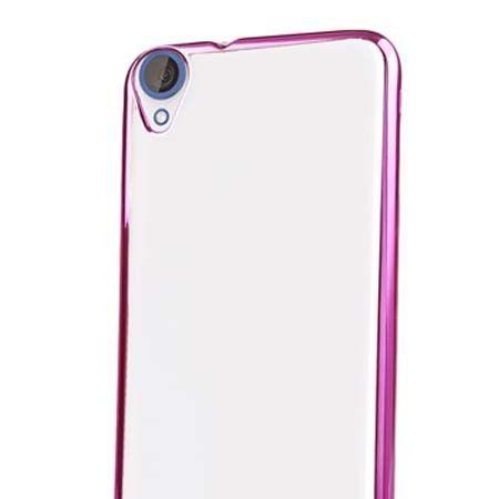 Silikonowe etui na HTC Desire 820 platynowane SLIM - różowe.
