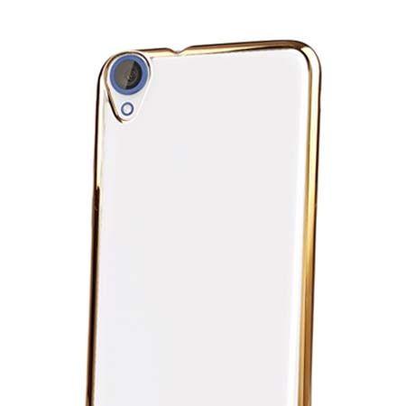 Silikonowe etui na HTC Desire 820 platynowane SLIM -złoty.