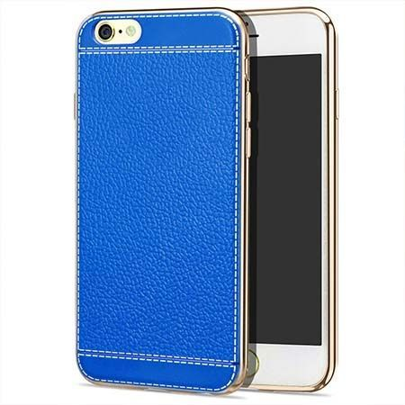 Etui na iPhone 6 / 6s silikonowe platynowane Slim skóra - niebieskie.