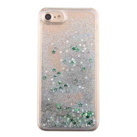 iPhone 7 etui z ruchomym płynem w środku brokat - zielony.