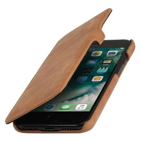 Etui na iPhone 7 Stilgut BOOK skórzane z klapką - koniakowy
