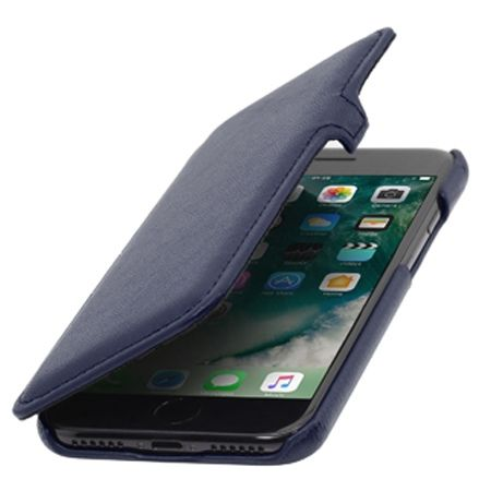 Etui na iPhone 7 Stilgut BOOK skórzane z klapką - granatowy