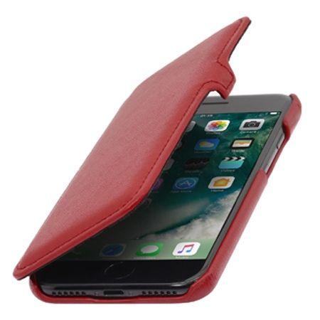 Etui na iPhone 7 Stilgut BOOK skórzane z klapką - czerwony