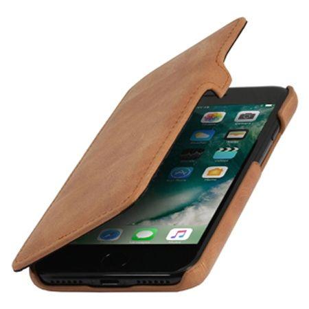 Etui na iPhone 7 Plus Stilgut BOOK skórzane z klapką - koniakowy