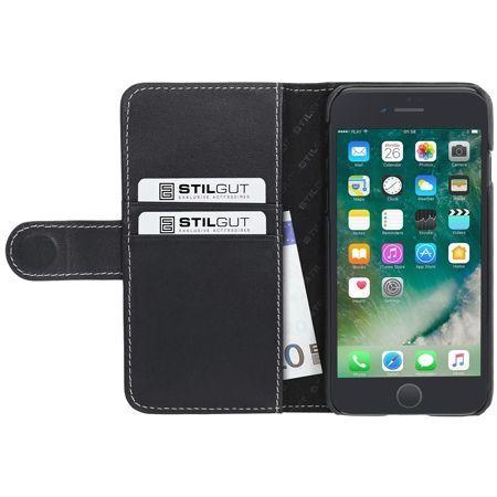 Etui na iPhone 7 Stilgut skórzany portfel z klapką na karty kredytowe - czarny