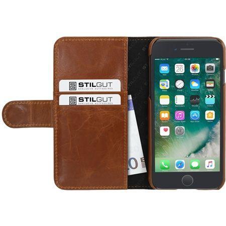 Etui na iPhone 7 Plus Stilgut skórzany portfel z klapką na karty kredytowe - brązowy