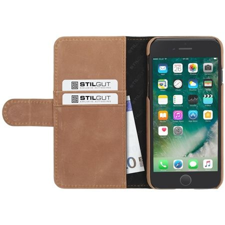 Etui na iPhone 7 Plus Stilgut skórzany portfel z klapką na karty kredytowe - koniakowy
