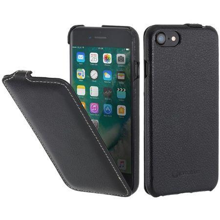 Etui na iPhone 7 Stilgut SlimCase skórzane z klapką - czarny