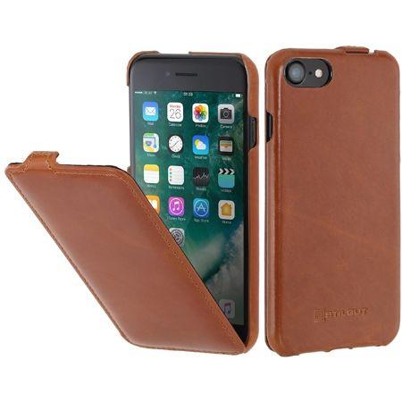 Etui na iPhone 7 Stilgut SlimCase skórzane z klapką - brązowy