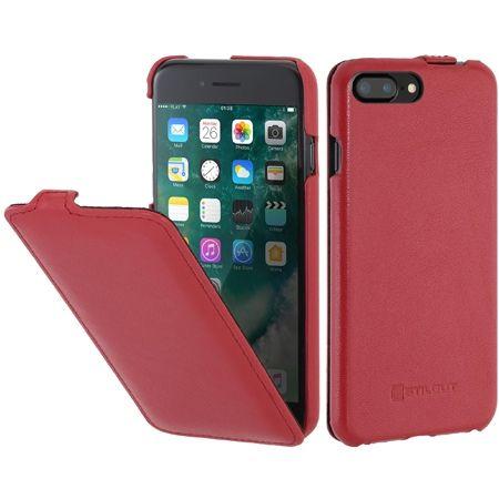 Etui na iPhone 7 Plus Stilgut SlimCase skórzane z klapką - czerwony
