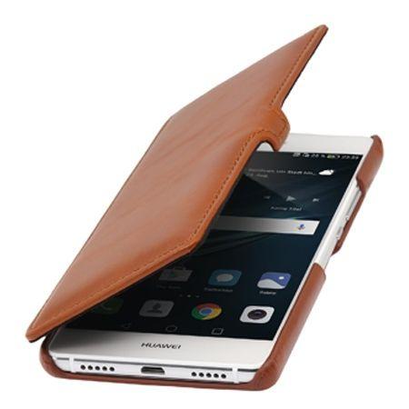 Etui na Huawei P9 Lite Stilgut BOOK skórzane z klapką - koniakowy